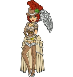Pretty Steampunk With Parasol vector