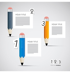 Progress steps for tutorial with pencils vector