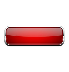 Red glass button shiny rectangle 3d web icon vector