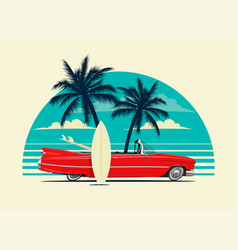 red retro roadster car with surfing boards on the vector image