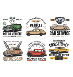 Retro cars service auto show and spare part store vector