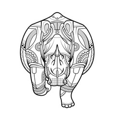 rhinoceros black white hand drawn coloring page vector image