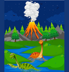 scene with two dinosaurs in river vector image