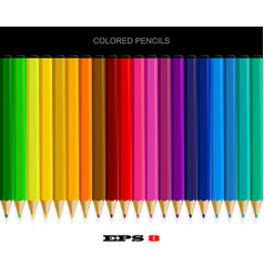 set colored pencils with drop shadow vector image