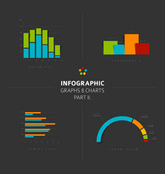 Set of flat design infographic charts and graphs 2 vector