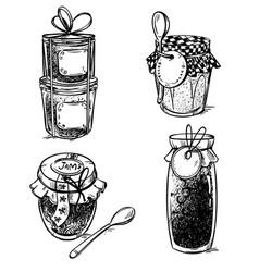 set of hand drawn mason jars with jam vector image