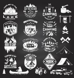 Set summer camp badges with design element vector