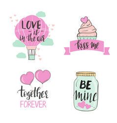 set valentines day templates with cute elements vector image