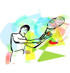Sketch of one man tennis player at service vector