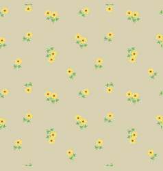 Small tiny yellow flowers with leaves scattered on vector