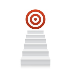 Stairs with red target icon isolated on white vector image