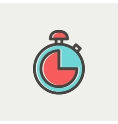Stopwatch thin line icon vector image