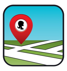 Street map icon with the pointer beauty salon vector image