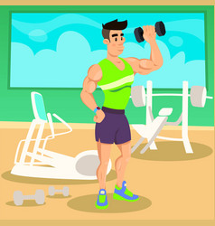 Strong man working out with dumbbells in fitness vector