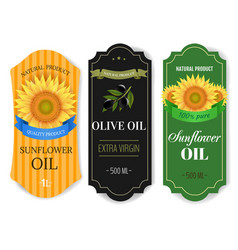 Sunflowers and olive oils labels isolated white vector