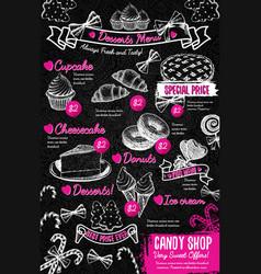 Sweet desserts menu template in vintage style vector