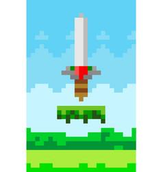 sword game pixelated icon vector image