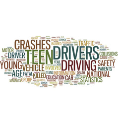 Teen driver statistics text background word cloud vector