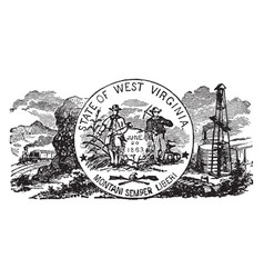 The official us state seal of west virginia vector