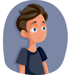 Unhappy depressed teenager boy crying vector