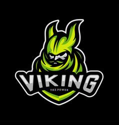 Viking esports logo design viking mascot gaming vector