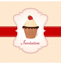 Vintage card with strawberry cupcake vector