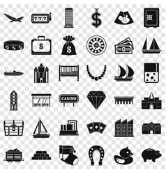 wealth icons set simple style vector image