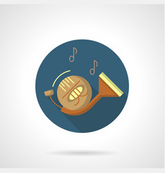 Wind instruments french horn round icon vector