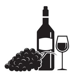 wine wine glass and grape vector image