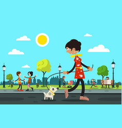 Woman with dog and people in city park on vector