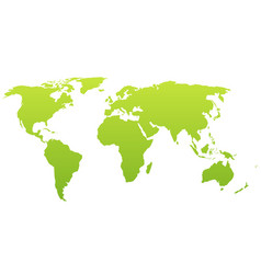 world map silhouette green gradient vector image