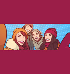 young people take selfie photo over colorful retro vector image
