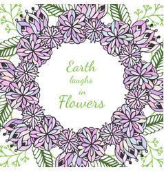 Zentangle frame doodle flowers pattern in vector