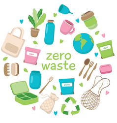 zero waste concept with different vector image