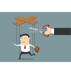Hand cutting strings of marionette businessman vector image