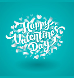 happy valentines day lettering with silver vector image vector image