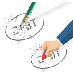 person erase word debt written on paper vector image vector image