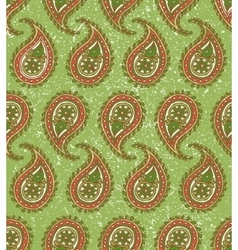 Seamless Pattern with Paisley on a Green vector image