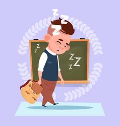 small school boy sleep tired standing over class vector image vector image