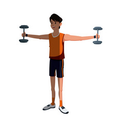 sport man fitness gym lifting dumbbell vector image