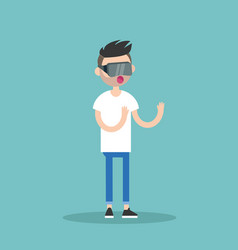 Young bearded man wearing virtual reality glasses vector