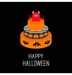 Cake with evil trident pumpkin and bat Happy vector image