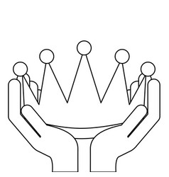Hands holding award crown honor vector