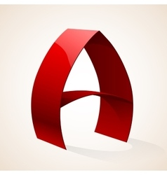 Isolated red color shiny ribbon a letter with vector