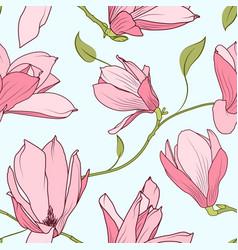 Magnolia sakura blooming flowers seamless pattern vector