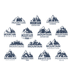 mountain tourism and sport icons set vector image