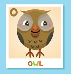 o is for owl letter o owl cute vector image