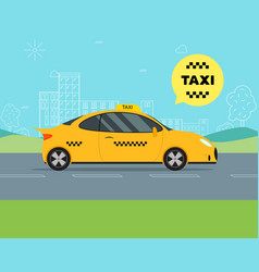 taxi service moving car on a landscape background vector image