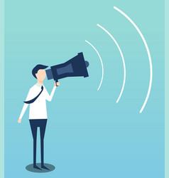businessman advertises by megaphone flat design vector image