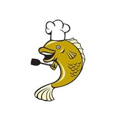 Cook chef largemouth bass fish spatula cartoon vector